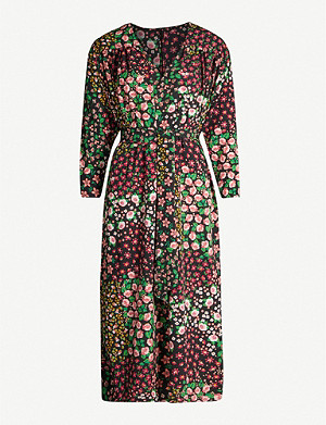 TOPSHOP Floral-print V-neck crepe midi dress