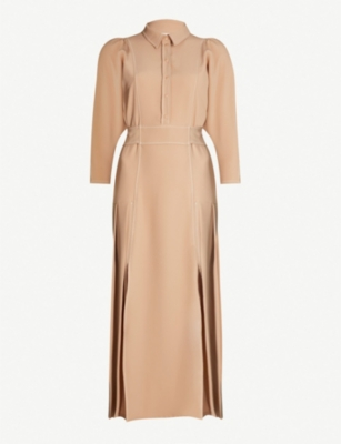 TOPSHOP Topstitch crepe shirt dress