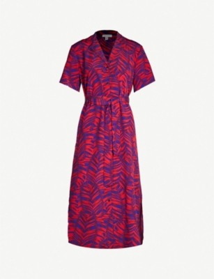 TOPSHOP Palm print short sleeved V-neck crepe dress