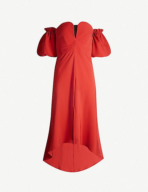f924bd3cdae TOPSHOP Bardot sweetheart-neckline crepe midi dress