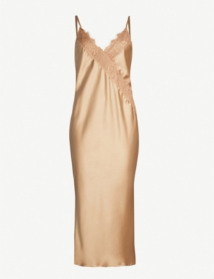 TOPSHOP Lace and satin slip midi dress