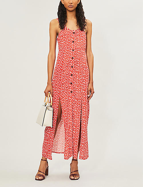 fdb30447eb810e TOPSHOP Floral-print scoop-neck crepe midi dress