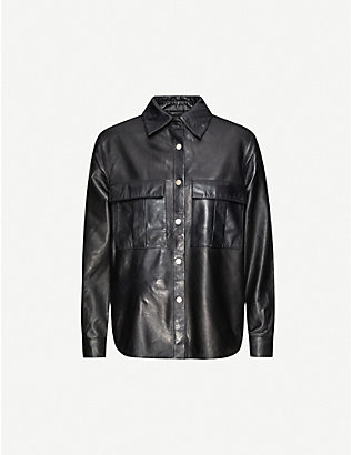 TOPSHOP: Boxy leather shirt