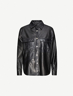 TOPSHOP Boxy leather shirt
