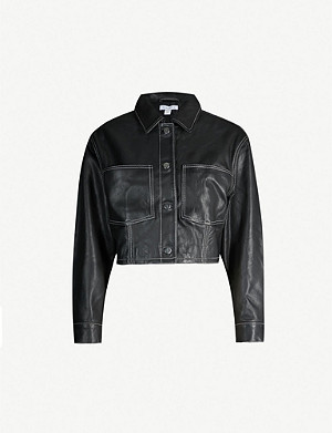 TOPSHOP Black Doll cropped leather jacket