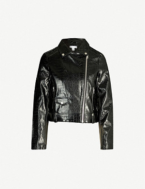 TOPSHOP Carnaby croc-embossed faux-leather jacket
