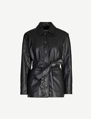 TOPSHOP Tied-front double-breasted faux-leather jacket