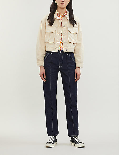 TOPSHOP Avril cargo-pocket denim cropped jacket