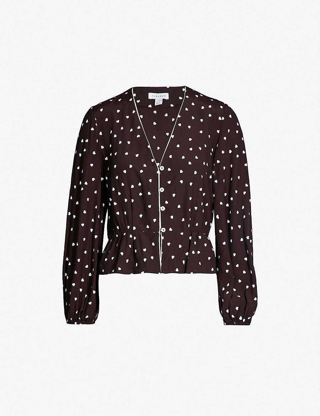 2dc8913bd837 TOPSHOP - Emilia heart-print crepe shirt   Selfridges.com