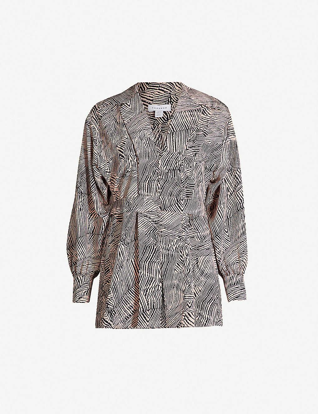 c3771c5d0451 TOPSHOP - Zebra-print plunge crepe blouse   Selfridges.com