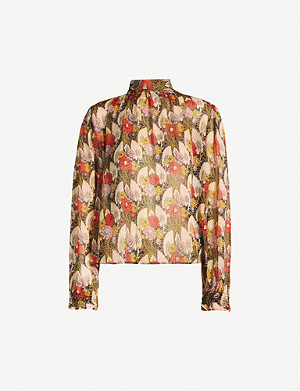 TOPSHOP Idol high-neck floral-print chiffon blouse