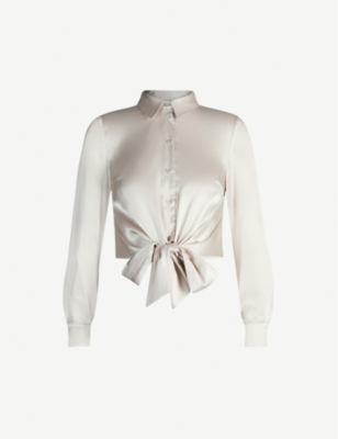TOPSHOP Tie-front collared satin shirt