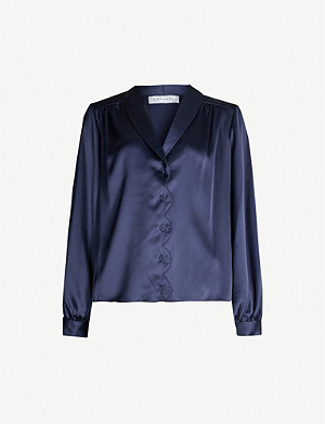 TOPSHOP Scalloped satin shirt
