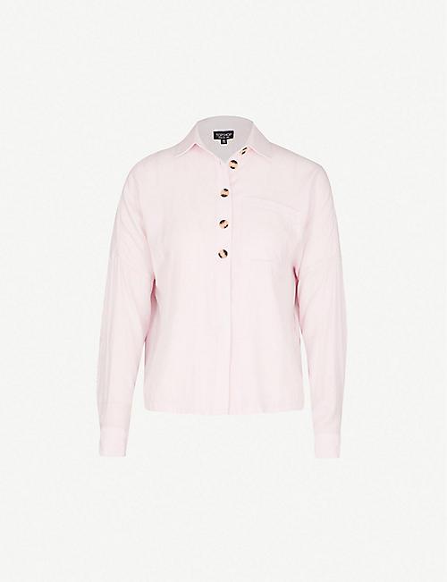 38e75efe4857 TOPSHOP Half-buttoned crepe shirt