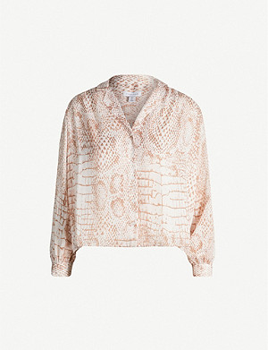TOPSHOP Crocodile-print satin shirt