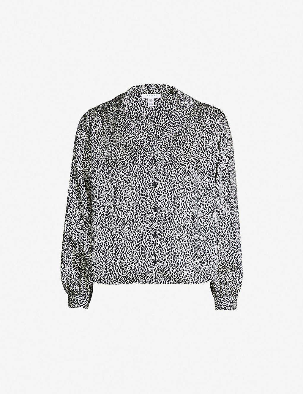 fec8e2f146d0 TOPSHOP - Animal spot-print crepe shirt | Selfridges.com