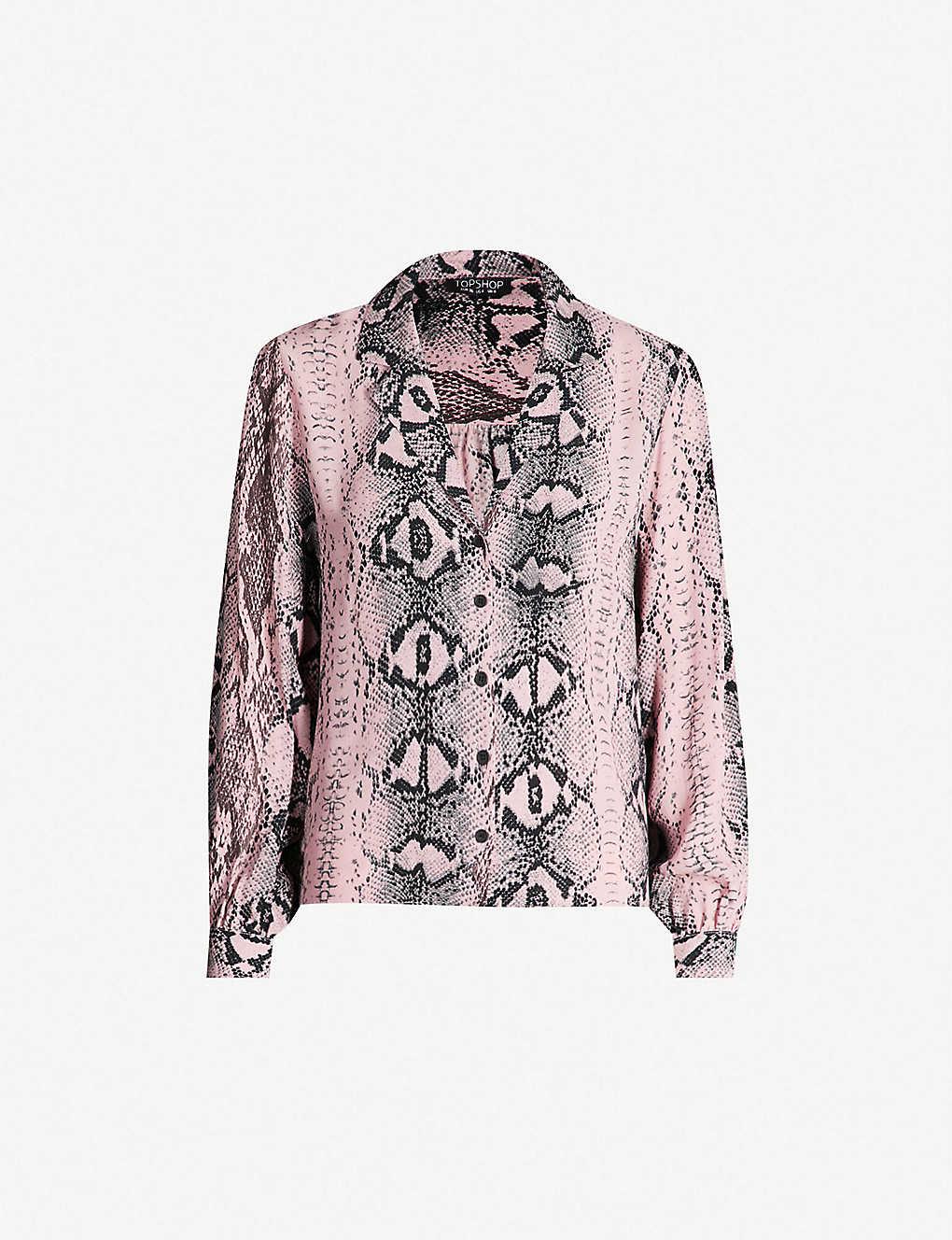 21e676008613 TOPSHOP - Jessica snakeskin-print crepe shirt   Selfridges.com
