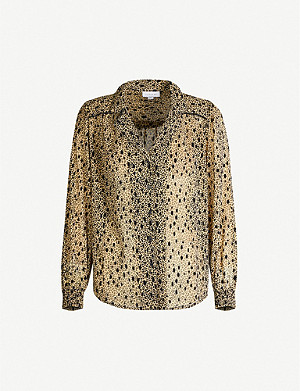 TOPSHOP Graphic-print velvet and crepe blouse
