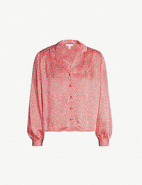 TOPSHOP Jenifer spot-print cropped crepe shirt. Quick view Wish list 7e01973f1