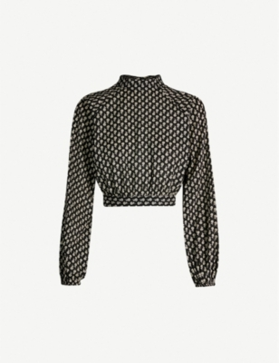 TOPSHOP Frida high-neck cotton-poplin top