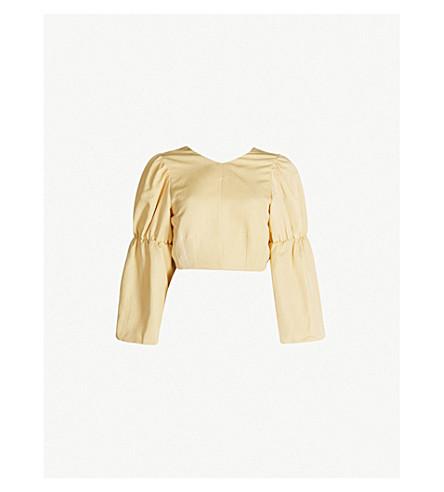 fdd5899ee1d TOPSHOP - Tie-back cropped linen-blend top