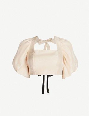 TOPSHOP Puffed sleeve cropped crepe blouse