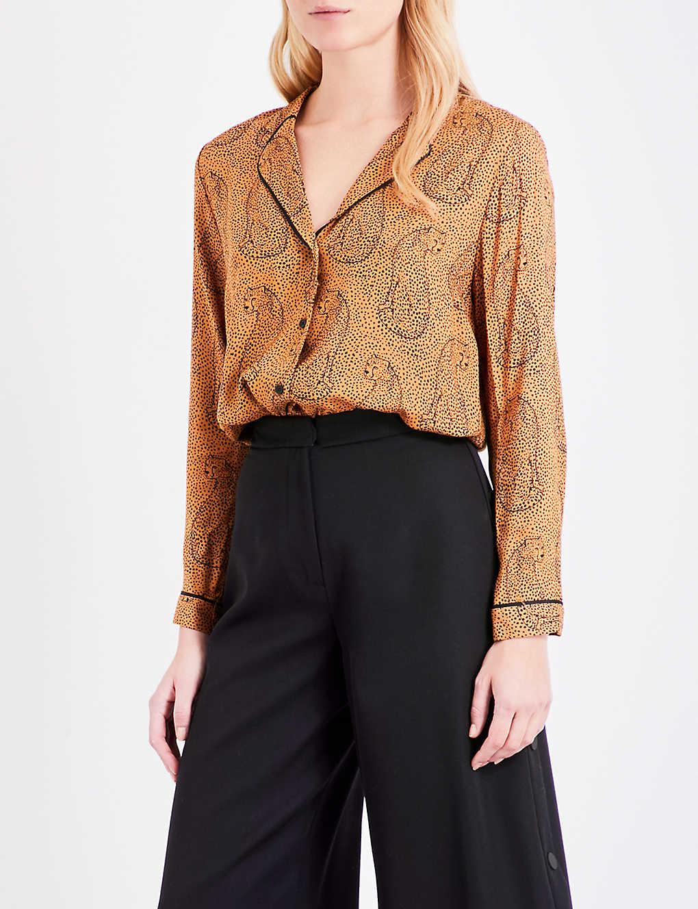 Topshop Hidden Leopard Pyjama Shirt Selfridges Com