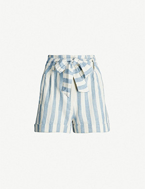 TOPSHOP Striped cotton and linen-blend shorts