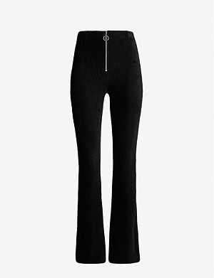 TOPSHOP High-waist flared corduroy trousers