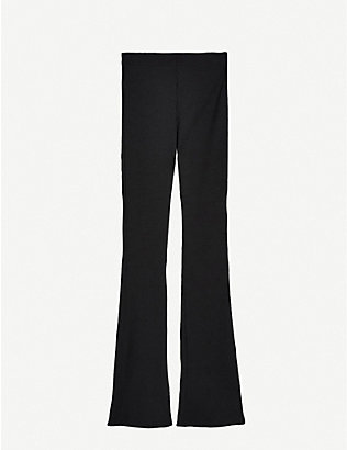 TOPSHOP: Ribbed skinny stretch-jersey flared trousers
