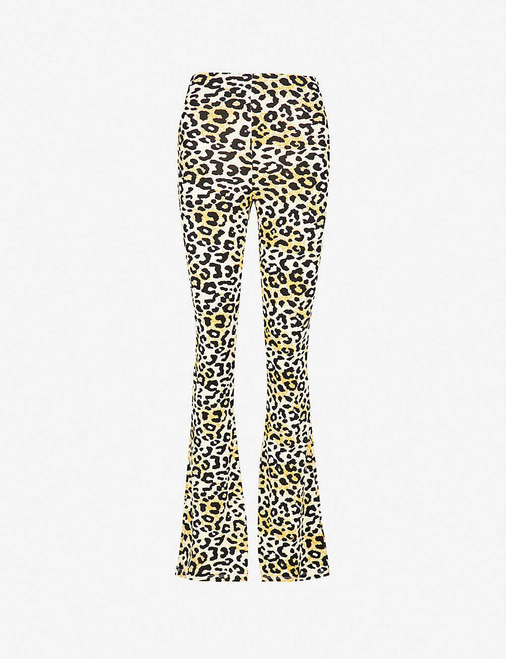 2f6cb082b9ad TOPSHOP - Leopard-print flared stretch-jersey trousers | Selfridges.com