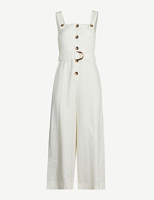 TOPSHOP Buttoned-down cropped wide linen-blend jumpsuit