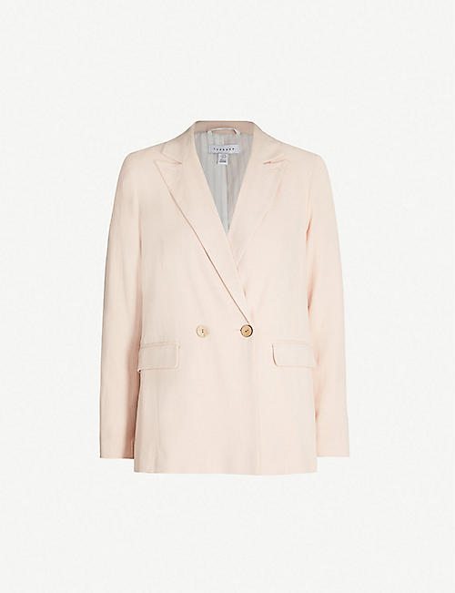 b01f430d55da TOPSHOP Coco double-breasted linen-blend blazer