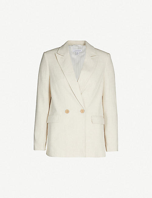 TOPSHOP Coco single-breasted linen-blend blazer 1e7bb3ff7