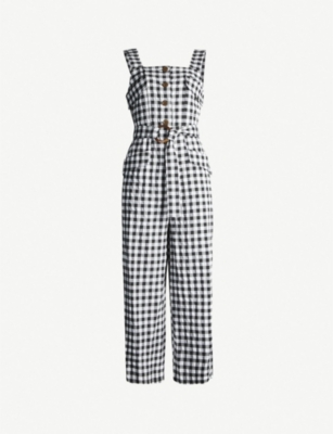 TOPSHOP Gingham woven pinafore jumpsuit