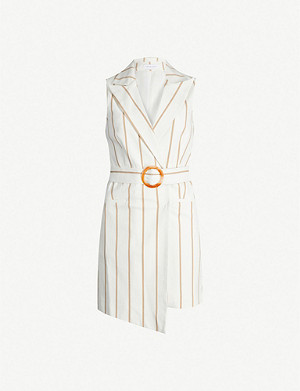 TOPSHOP Belted striped stretch-cotton mini dress
