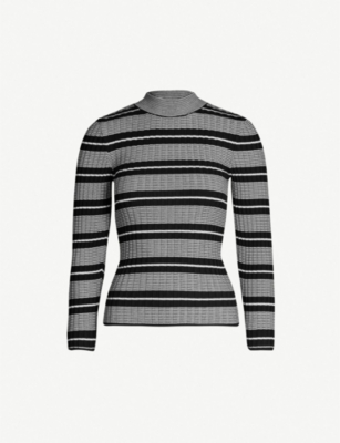 TOPSHOP Contrasting stripe high-neck jumper