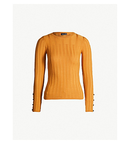 d0ef09d2b2 TOPSHOP - Buttoned-sleeve ribbed-knit sweater