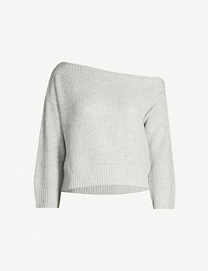 TOPSHOP Off-the-shoulder cropped knitted jumper