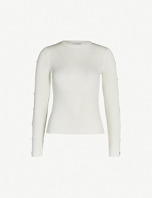 TOPSHOP Buttoned sleeve knitted jumper