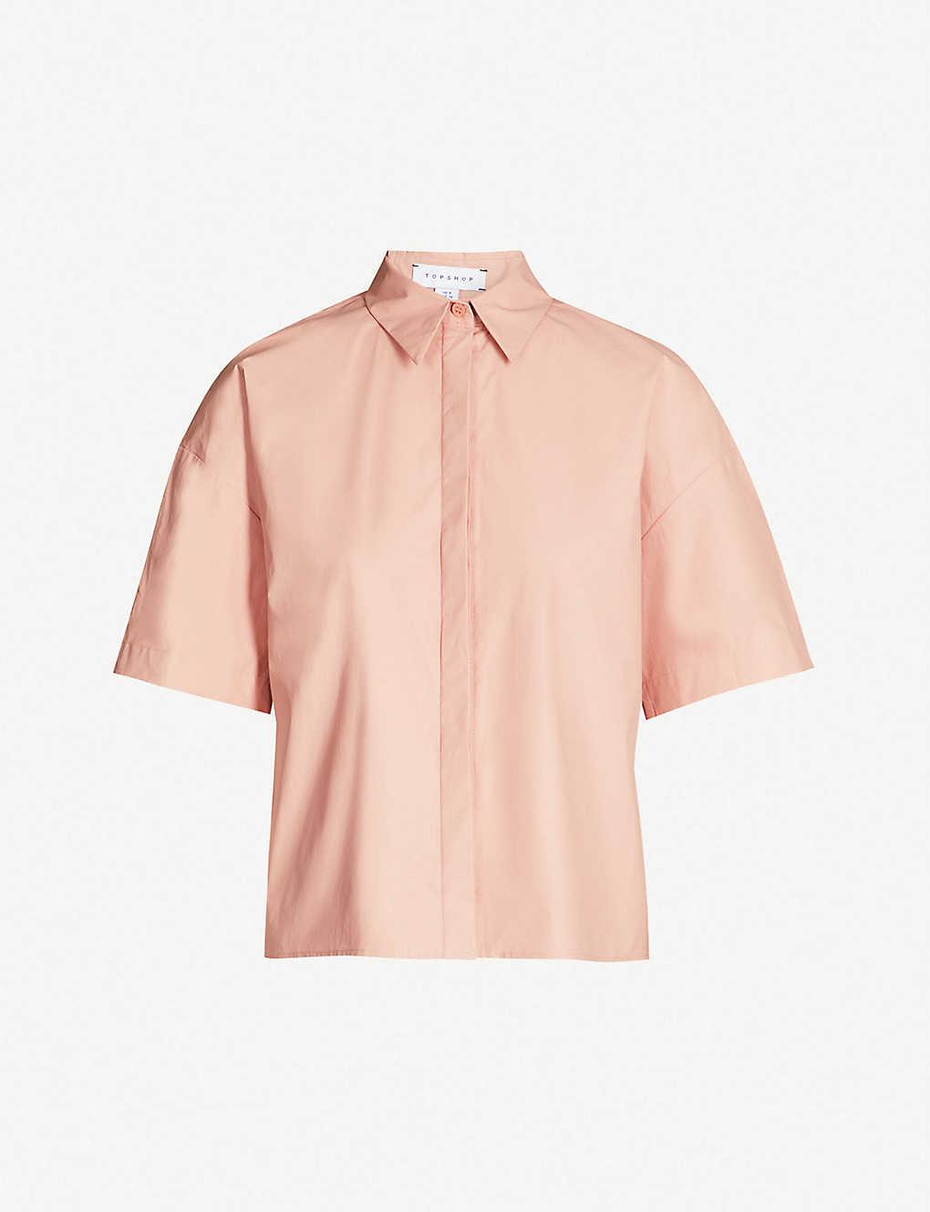 TOPSHOP - Boutique oversized cotton-blend bowling shirt | Selfridges com