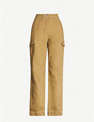 TOPSHOP: Pocket-detail high-rise cotton-twill straight-leg trousers