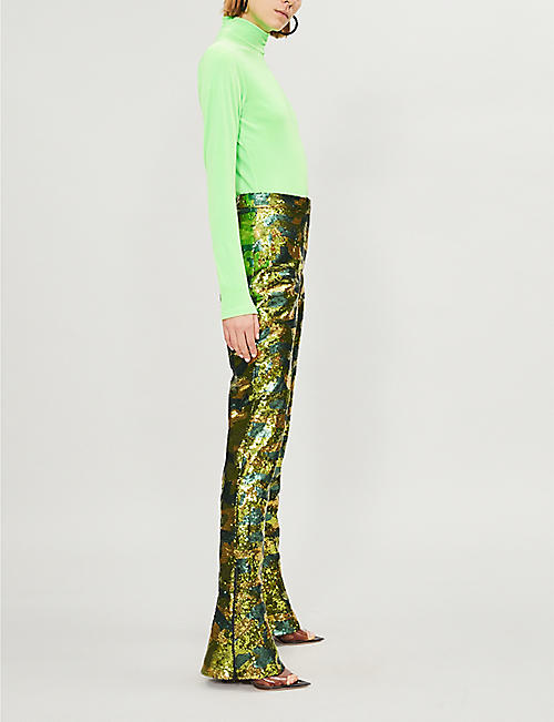TOPSHOP Topshop x Halpern Sandy flared sequinned trousers