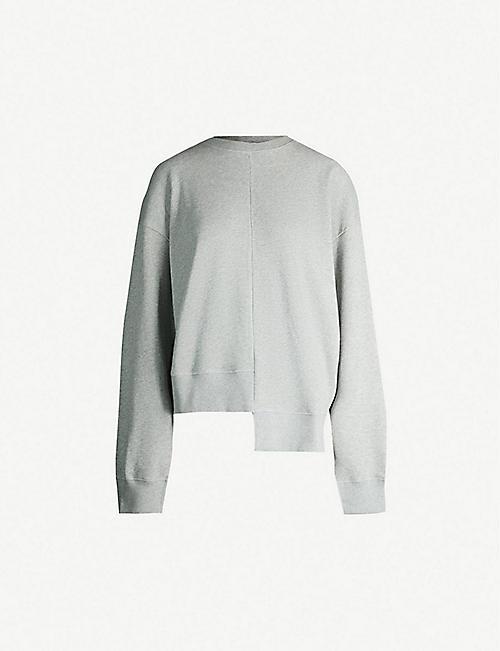 9f528da9252 TOPSHOP Asymmetric-hem cotton-jersey sweatshirt