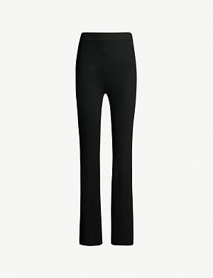 TOPSHOP Boutique flared high-rise ribbed stretch-knit trousers