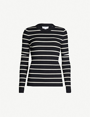 TOPSHOP Boutique striped cut-out knitted jumper