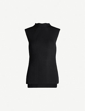 TOPSHOP High-neck split-sides stretch-knit top