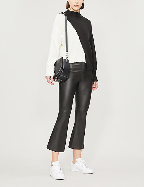 TOPSHOP Boutique cropped flared leather trousers