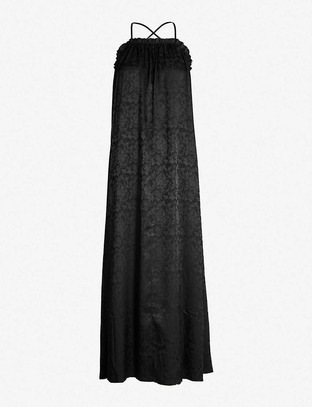 7696971b2422 TOPSHOP - Boutique ruched-trim floral-jacquard satin maxi dress ...