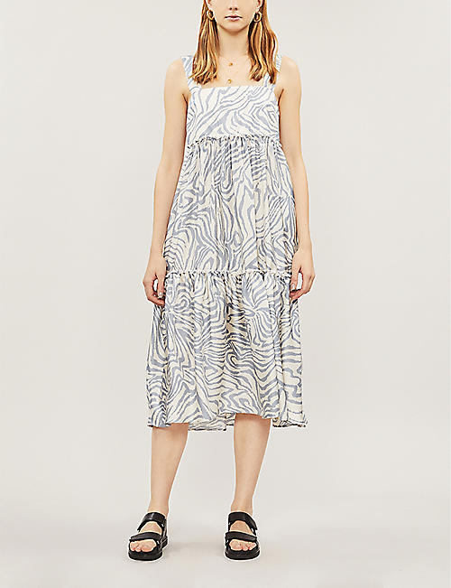 46972d1e7651a4 TOPSHOP Boutique zebra-print sleeveless silk midi dress